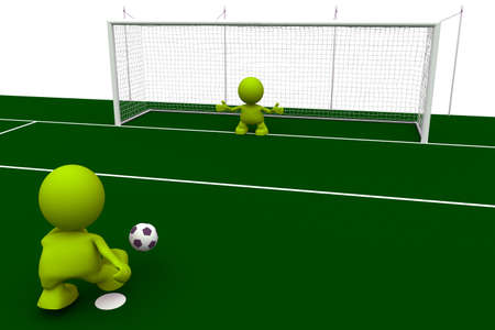 Illustration of a soccer player taking a penalty kick with the goalkeeper waiting to stop it.  Part of my cute green man series.