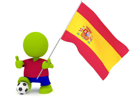 Illustration of a man in a Spanish soccer jersey with a ball holding a flag. Part of my cute green man series. Stock Illustration - 8773829