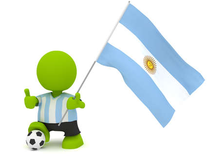 Illustration of a man in an Argentine soccer jersey with a ball holding a flag. Part of my cute green man series.