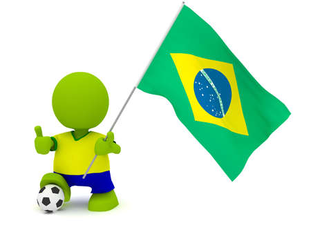 Illustration of a man in a Brazilian soccer jersey with a ball holding a flag. Part of my cute green man series. illustration