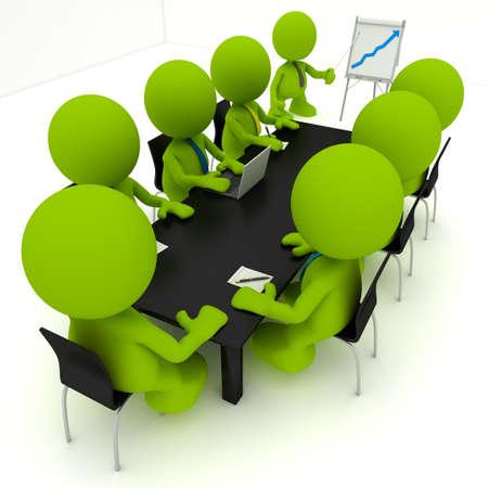 Illustratie van een zakelijke bijeenkomst met een man die presenteert een flip-over een positieve trend toont.  Een deel van mijn schattige groene man serie.