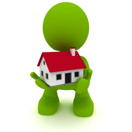 house construction: Illustration of a man holding a little house in his hands.  Part of my cute green man series. Stock Photo