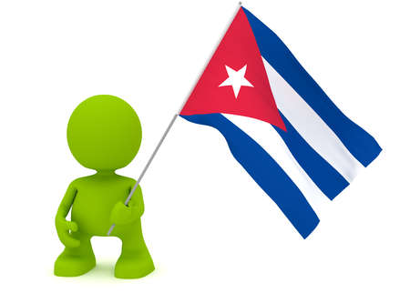 graphic illustration: Illustration of a man holding a Cuban flag.  Part of my cute green man series.