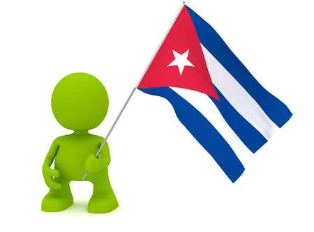 bandera cuba: Ilustraci�n de un hombre sosteniendo una bandera cubana.  Parte de la serie de mi lindo hombre verde. Foto de archivo