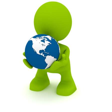 Illustratie van een man met een globe in zijn handen.  Een deel van mijn schattige groene man serie. Stockfoto - 8773836