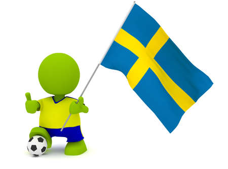 Illustration of a man in a Swedish soccer jersey with a ball holding a flag. Part of my cute green man series. illustration