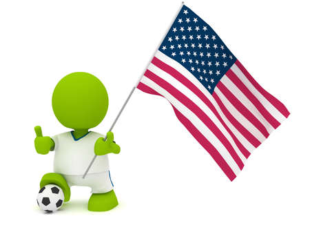 Illustration of a man in an American soccer jersey with a ball holding a flag. Part of my cute green man series. Stock Illustration - 8773848