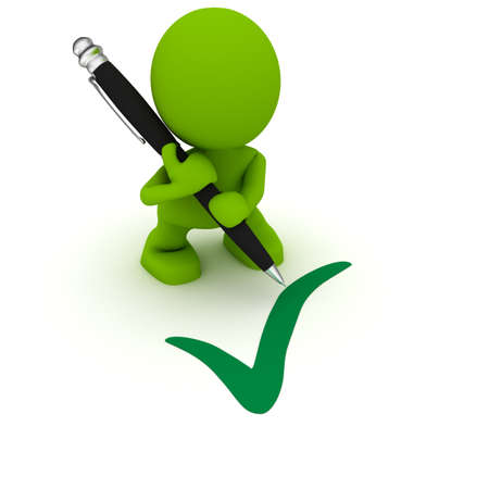Illustration of a man with a large pen drawing a checkmark.  Part of my cute green man series.