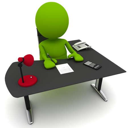 계약을 체결하는 책상에 남자의 그림. 내 귀여운 녹색 남자 시리즈의 일부입니다.