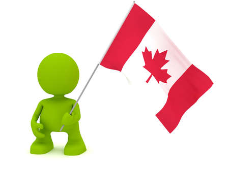 canadian flag: Illustration of a man holding a Canadian flag.  Part of my cute green man series.