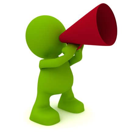Illustration of a man talking through a megaphone.  Part of my cute green man series.