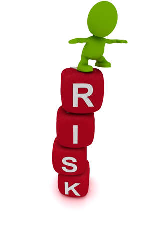 Illustration of a man teetering on a tower of blocks spelling the word Risk.  Part of my cute green man series. Stock Photo