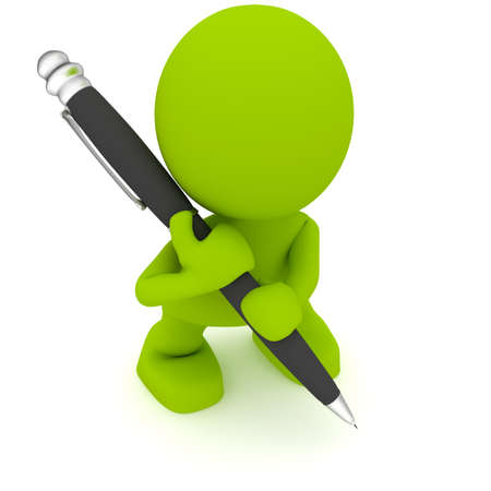 Illustration of a man with a large pen.  Part of my cute green man series. Stock Photo