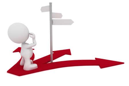 Illustrazione di un uomo guardando un segnale stradale chiedendo quale strada da percorrere.  Parte della mia serie di persone 3D carino. Archivio Fotografico