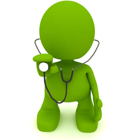 Illustration of a doctor holding a stethoscope.  Part of my cute green man series.