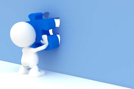 Illustration of a man placing the final piece of a puzzle.  Part of my cute 3D people series.