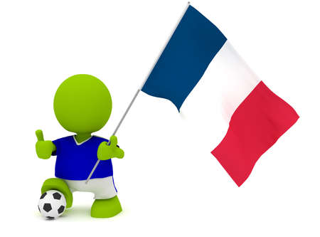 Illustration of a man in a French soccer jersey with a ball holding a flag. Part of my cute green man series. illustration