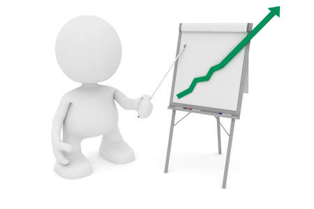 Illustration of a businessman presenting at a flipchart showing a positive trend going off the chart.  Part of my cute 3D people series. illustration