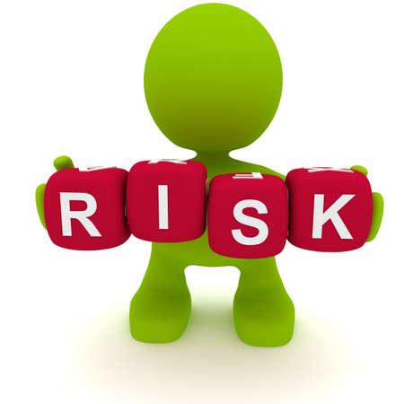 Illustration d'un homme tenant des blocs orthographiant le mot risque. Une partie de ma série mignonne d'homme vert. Banque d'images - 8920475