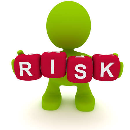 Illustration of a man holding blocks spelling the word Risk.  Part of my cute green man series.