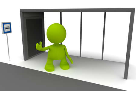 bus stop: Illustration of a man waiting at a bus stop with his arm out.  Part of my cute green man series. Stock Photo
