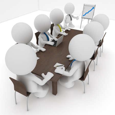 Illustratie van een zakelijke bijeenkomst met een man die presenteert een flip-over een positieve trend toont.  Deel van mijn schattige kleine mensen serie.