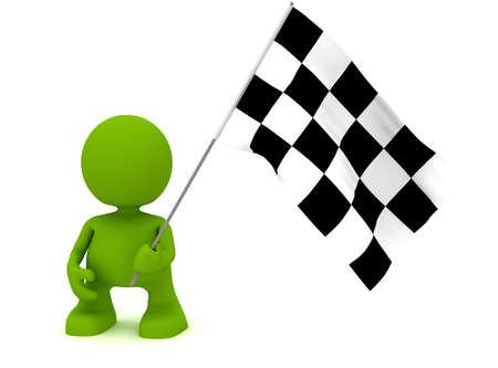 체크 무늬 깃발을 들고 남자의 그림. 내 귀여운 녹색 남자 시리즈의 일부입니다. 스톡 콘텐츠