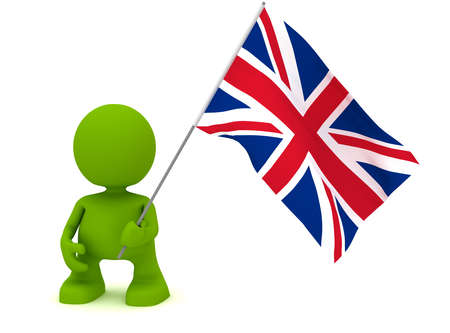 Illustration of a man holding the flag of the United Kingdom.  Part of my cute green man series.