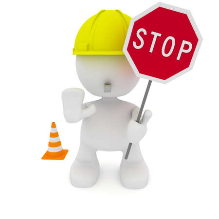 Illustration of a construction worker motioning to stop.  Part of my cute little people series. Banque d'images