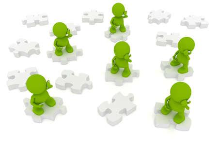 퍼즐 조각에 서있는 동안 휴대 전화에 얘기하는 사람들의 그림. 내 귀여운 녹색 남자 시리즈의 일부입니다.