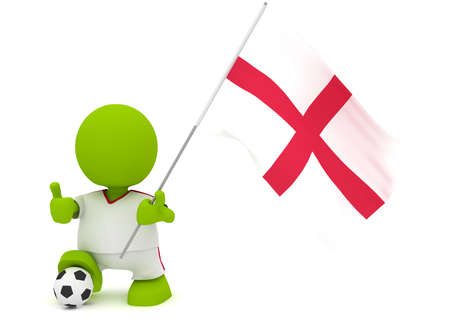Illustration of a man in an English soccer jersey with a ball holding a flag. Part of my cute green man series.
