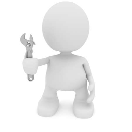 Illustration of a man holding a wrench.  Part of my cute little people series. illustration