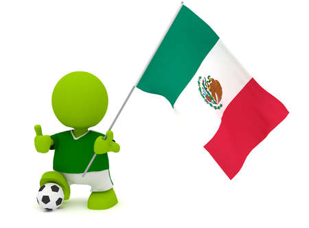 Illustration of a man in a Mexican soccer jersey with a ball holding a flag. Part of my cute green man series.