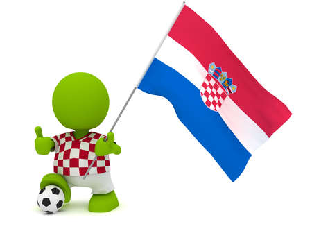 Illustration of a man in a Croatian soccer jersey with a ball holding a flag. Part of my cute green man series. Stock Illustration - 9136072