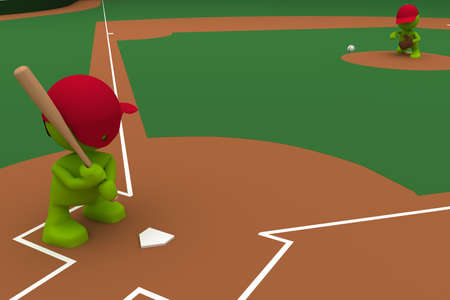 Illustration of a pitcher throwing a baseball with a batter standing ready to hit.  Part of my cute green man series. illustration