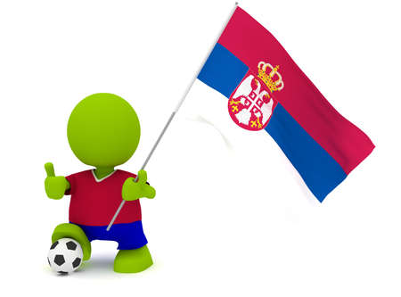 slovakian: Illustration of a man in a Slovakian soccer jersey with a ball holding a flag. Part of my cute green man series. Stock Photo