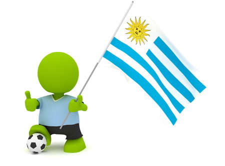 Illustration of a man in an Uruguayan soccer jersey with a ball holding a flag. Part of my cute green man series. Imagens