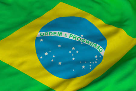 Detailed 3D rendering closeup of the flag of Brazil.  Flag has a detailed realistic fabric texture and an accurate design and colors. Imagens - 9261451