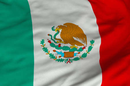 Detailed 3D rendering closeup of the flag of Mexico. Flag has a detailed realistic fabric texture and an accurate design and colors. Stok Fotoğraf