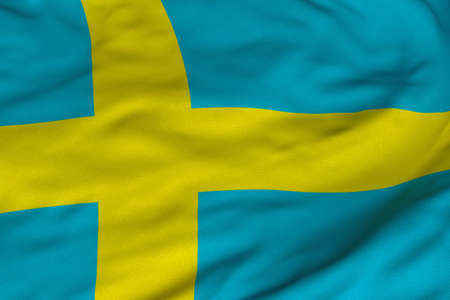 sweden flag: Detailed 3D rendering closeup of the flag of Sweden. Flag has a detailed realistic fabric texture and an accurate design and colors.