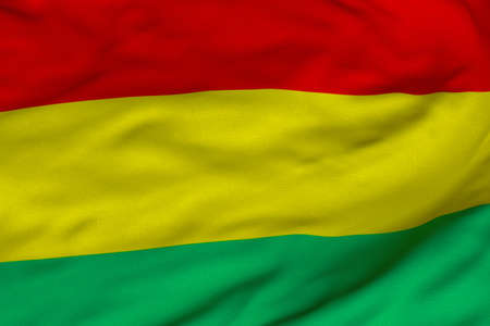 Detailed 3D rendering closeup of the flag of Bolivia.  Flag has a detailed realistic fabric texture and an accurate design and colors. photo