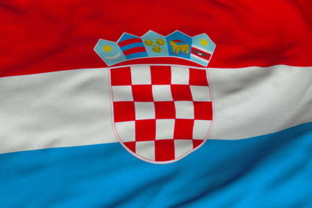 Detailed 3D rendering closeup of the flag of Croatia.  Flag has a detailed realistic fabric texture and an accurate design and colors. photo