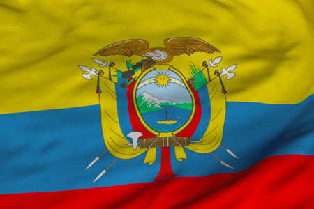 Detailed 3D rendering closeup of the flag of Ecuador.  Flag has a detailed realistic fabric texture and an accurate design and colors. photo