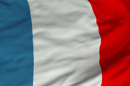 Detailed 3D rendering closeup of the flag of France.  Flag has a detailed realistic fabric texture and an accurate design and colors. photo