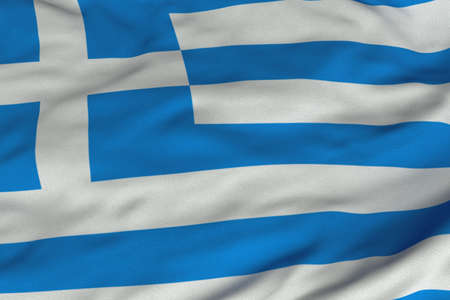 Detailed 3D rendering closeup of the flag of Greece.  Flag has a detailed realistic fabric texture and an accurate design and colors. photo