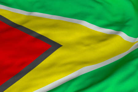 Detailed 3D rendering closeup of the flag of Guyana.  Flag has a detailed realistic fabric texture and an accurate design and colors. photo