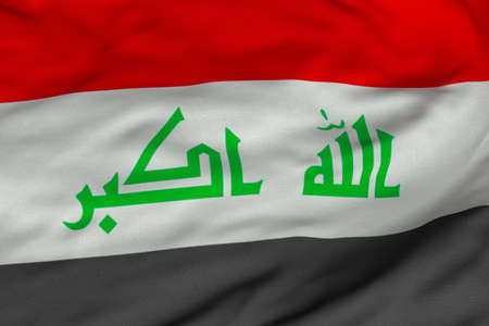 Detailed 3D rendering closeup of the flag of Iraq.  Flag has a detailed realistic fabric texture and an accurate design and colors. photo