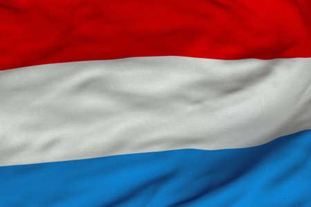 Gedetailleerde 3D-rendering close-up van de vlag van Nederland.  De vlag heeft een gedetailleerde realistische weefsel textuur en een nauwkeurige ontwerp en kleuren.