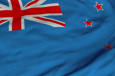 Detailed 3D rendering closeup of the flag of New Zealand.  Flag has a detailed realistic fabric texture and an accurate design and colors. Stok Fotoğraf