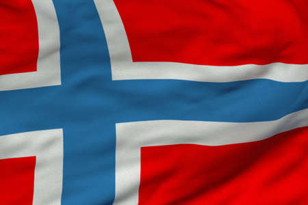 Detailed 3D rendering closeup of the flag of Norway.  Flag has a detailed realistic fabric texture and an accurate design and colors. photo